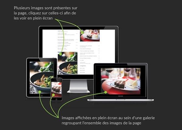 Illustration relative à l'affichage en plein écran des photos présentes sur chaque site.
