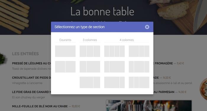 Capture d'écran de l'interface de sélection du type de section à ajouter dans le CMS.