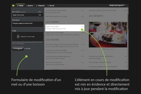 Illustration de la modification de contenu en direct sur le site, simple et rapide.