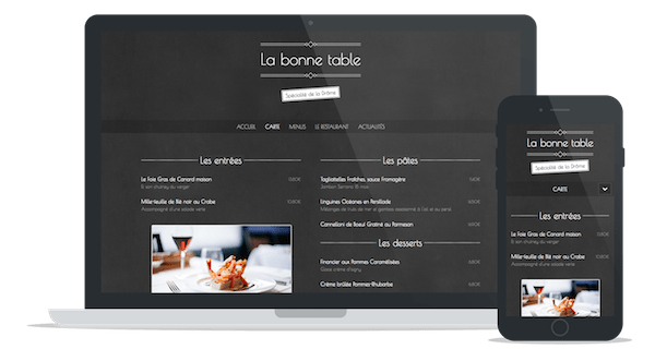 "Sample website of a restaurant using the theme ""Slate"""