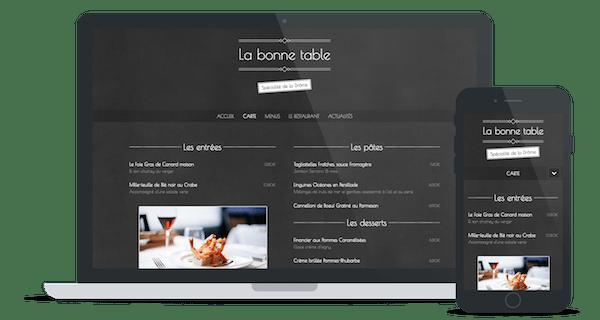 Exemple de site web d'un restaurant utilisant le thème « Ardoise »