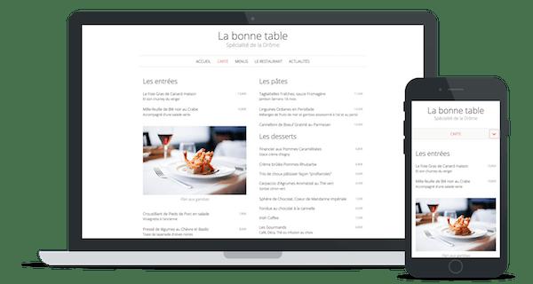 Exemple de site web d'un restaurant utilisant le thème « Brasserie »