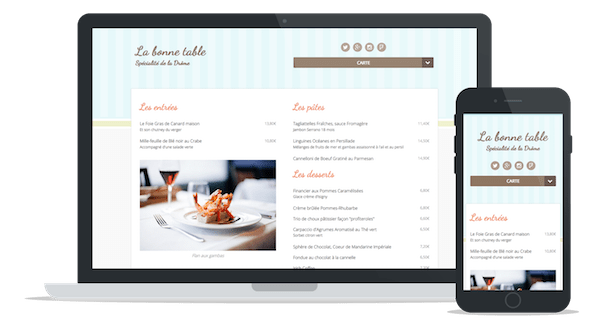 "Sample website of a restaurant using the theme ""Cupcake"""