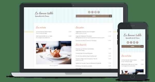 Exemple de site web d'un restaurant utilisant le thème « Cupcake »
