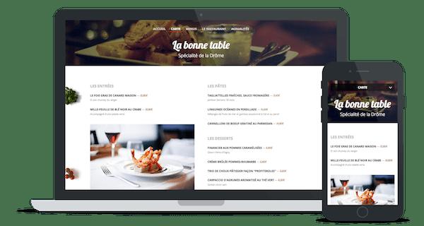 Exemple de site web d'un restaurant utilisant le thème « Italien »