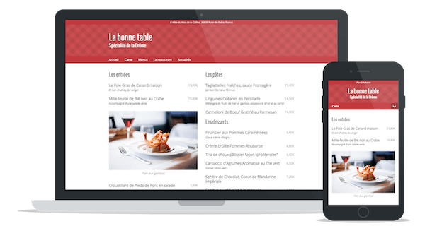 "Sample website of a restaurant using the theme ""Modern"""