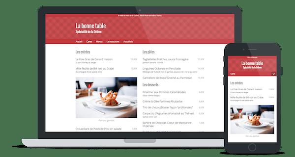 Exemple de site web d'un restaurant utilisant le thème « Moderne »
