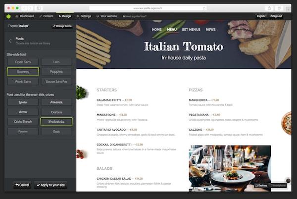 Admin UI for design live editing.