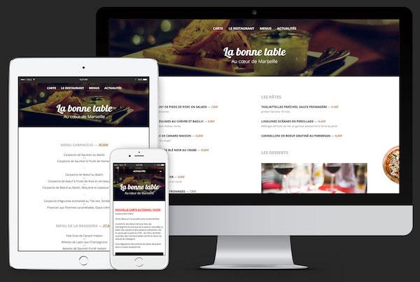 Design responsive : le même site sur ordinateur, tablette et smartphone.
