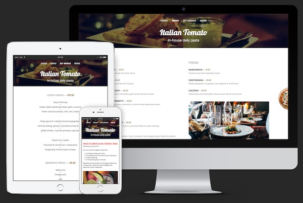 Responsive design : the same site on computer, tablet and smartphone.