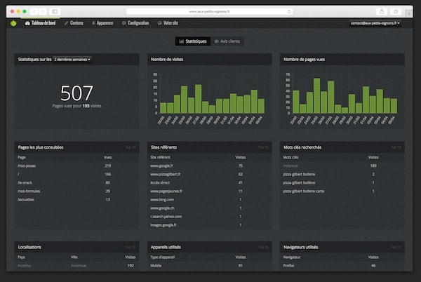 Capture d'écran de l'interface de visualisation des statistiques.